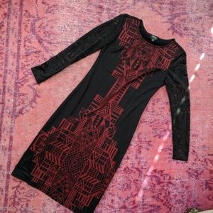 Nicole Miller Red & Black Dress